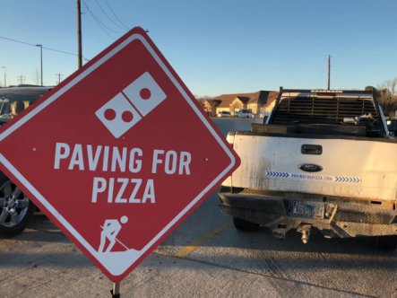 dominos paving for pizza